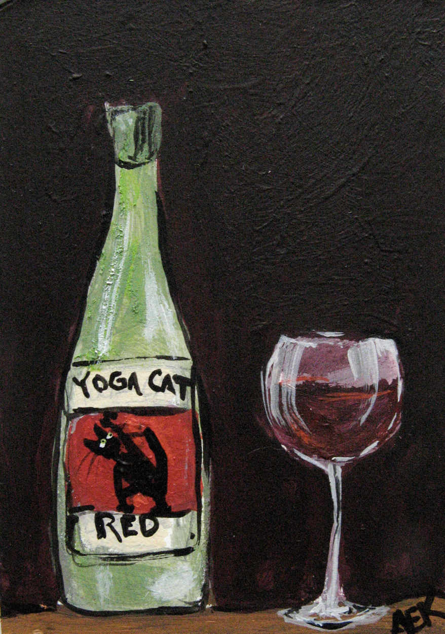 Alison_E_Kurek_Yoga_Cat_Red_Wine_aceo2