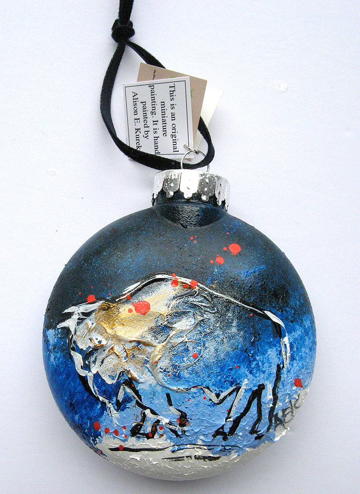 Alison_E_Kurek_Buffalo_Ornament_Blue_Snow_Christmas_Ornament_2