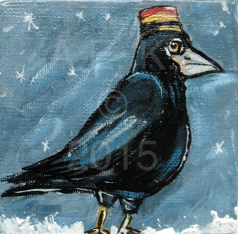 Alison_E_Kurek_Mianture_Crow_In_Snow_Painting_1