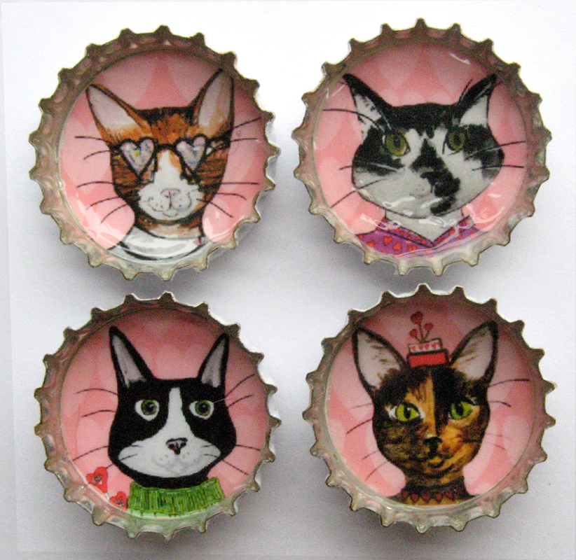 Alison_E_Kurek_Valentine_Cats_Magnets_1