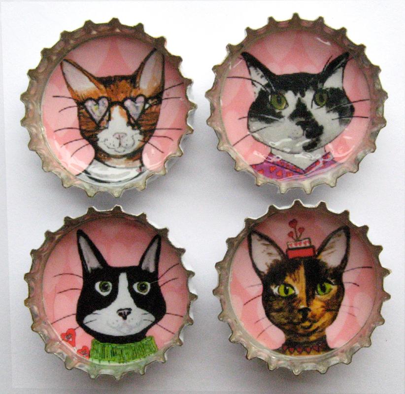 Alison_E_Kurek_Valentine_Cats_Magnets_1