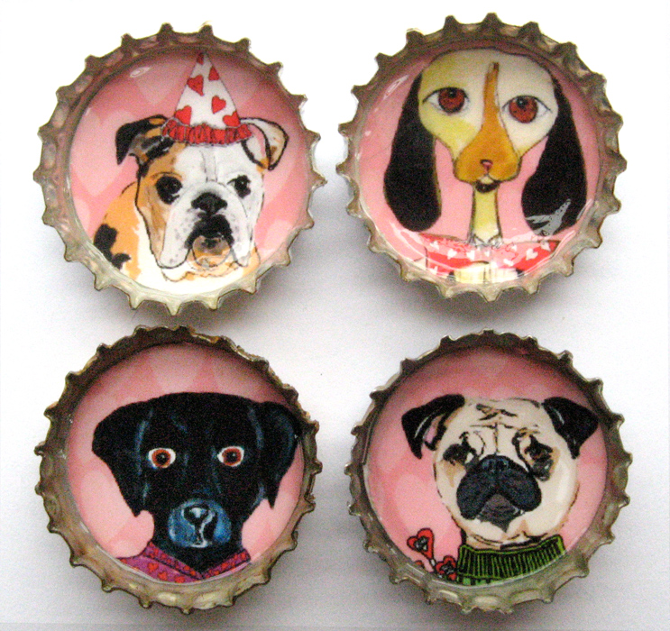 Alison_E_Kurek_Valentine_Dog_Magnets_1